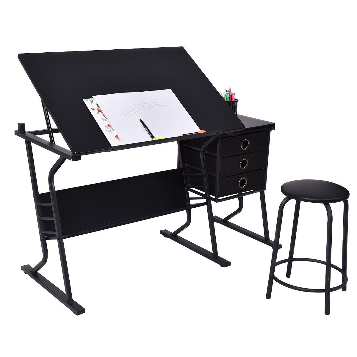 Tangkula Drafting Desk Drawing Table Adjustable with Stool and Drawers Black by Tangkula