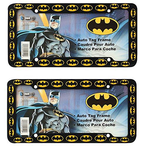 (Batman Colored Bat Logos DC Comics Auto Car Truck SUV Vehicle Universal-fit License Plate Frame - Plastic - PAIR)