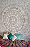 White Gold Elephant Mandala Tapestry Wall Hanging Hippie Bohemian Indian Bedspread Wall Art Queen Size Bedding for Bedroom Medallion Yoga Meditation Picnic Spread Boho Blanket Gypsy Dorm Room Decor
