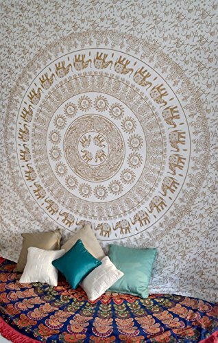 White Gold Elephant Mandala Tapestry Wall Hanging Hippie Bohemian Indian Bedspread Wall Art Queen Size Bedding for Bedroom Medallion Yoga Meditation Picnic Spread Boho Blanket Gypsy Dorm Room ()