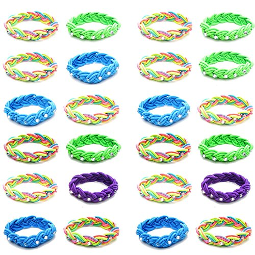 Sailor Bracelets for Women Men Girls Boys Teens Tween | 24 Piece Value Pack | Stretch Braid Sailor Knot Woven Bracelets Great Party Favors Fashion Jewelry (MULTI WITH - Woven Knot