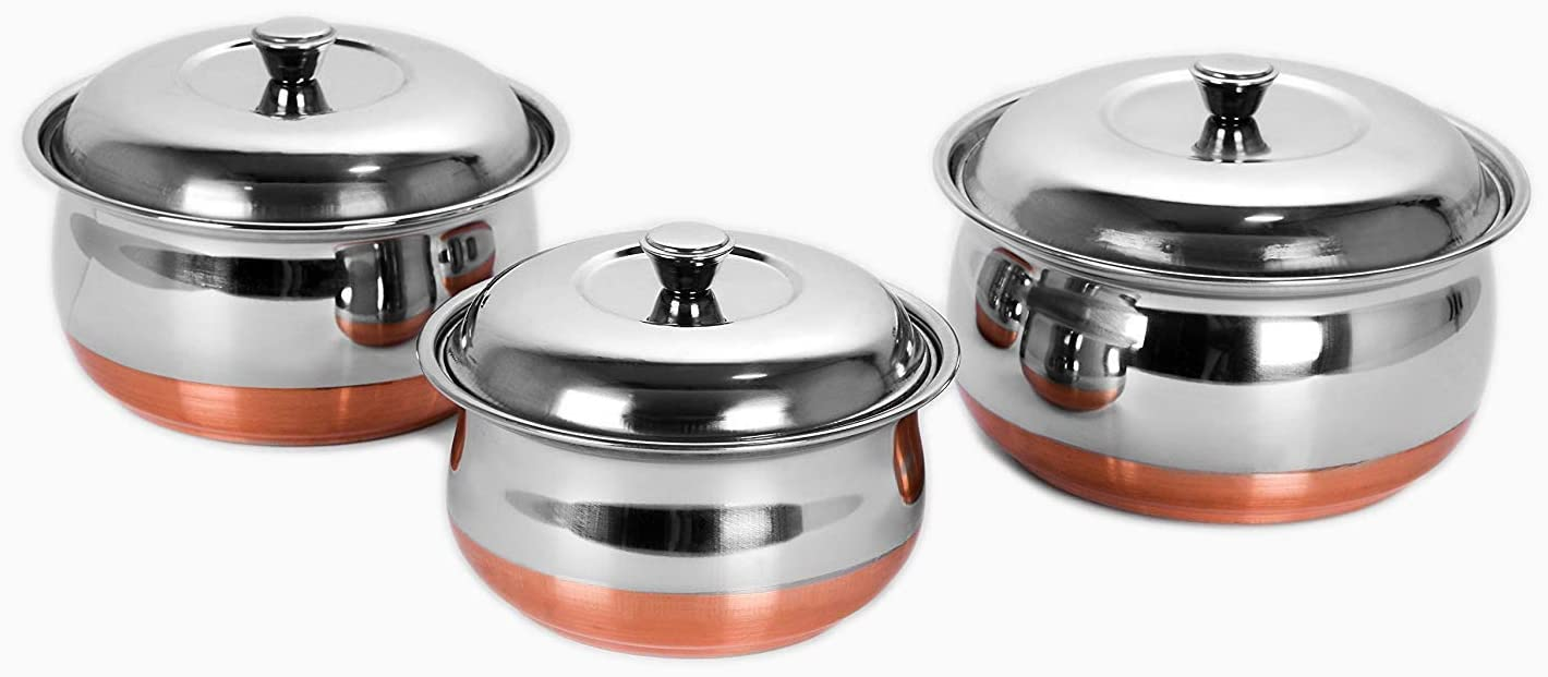 Sumeet Stainless Steel Copper Bottom Multipurpose Cook & Serve Handi With Lid - 3 Pcs Set