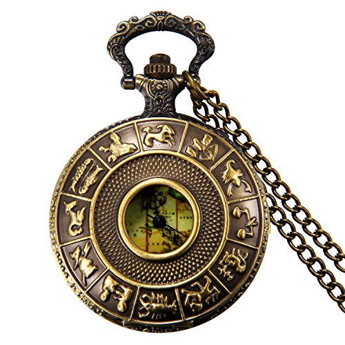 JewelryWe Bronze 12 Constellation Cover Map Antique Pocket Watch Pendant with 32 Inch Necklace