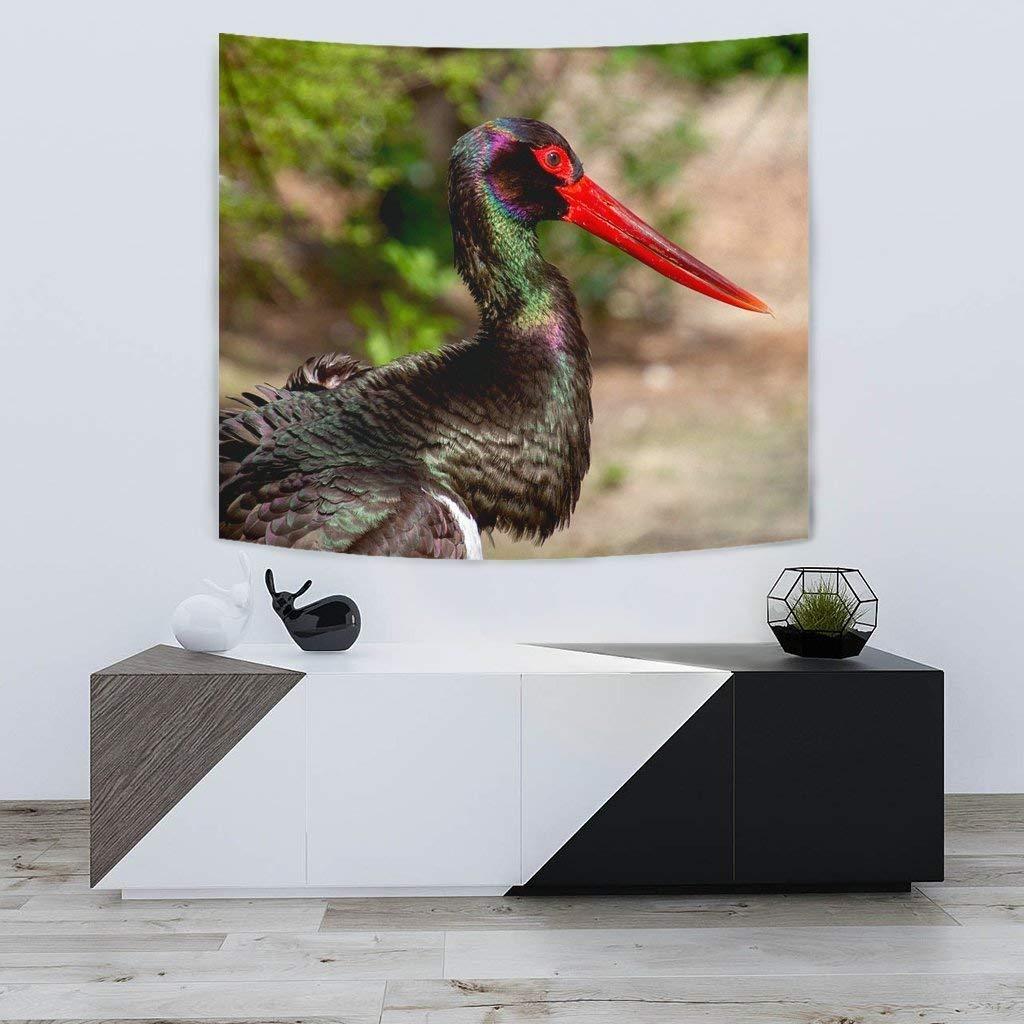 Black Stork Bird Print Tapestry by Pawick