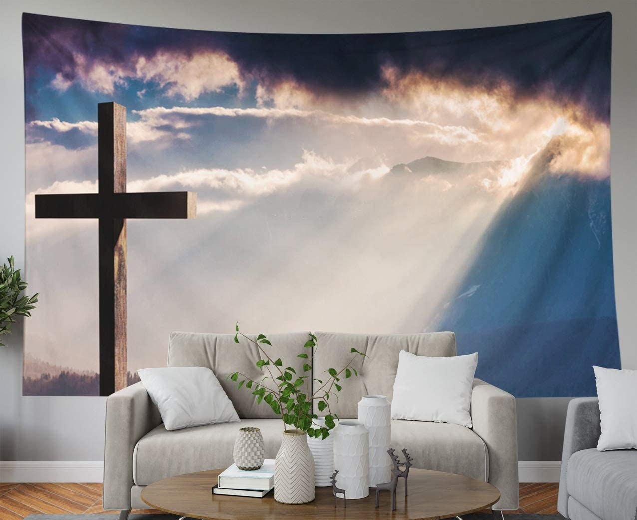 Shorping Father Gift Tapestry, 60x50Inches Home Wall Hanging Tapestries Art for Décor Living Room Dorm Christ Cross Easter Resurrection Concept Christian Wooden on a Background with Dramatic Lighting