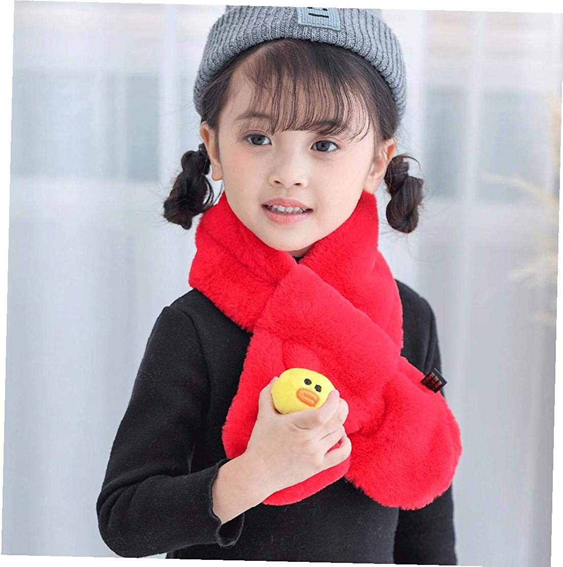 Kids Plush Scarf Imitation Rabbit Fur Collar Intersection Shape Warm Scarf Cartoon Neckerchief for Girls Boys