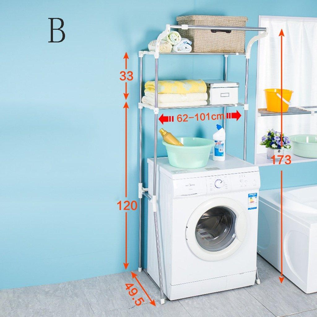 ZJM Machine à laver Etagères Rack Stockage Réglable Hauteur Télescopique En Acier Inoxydable À Deux Couches Est