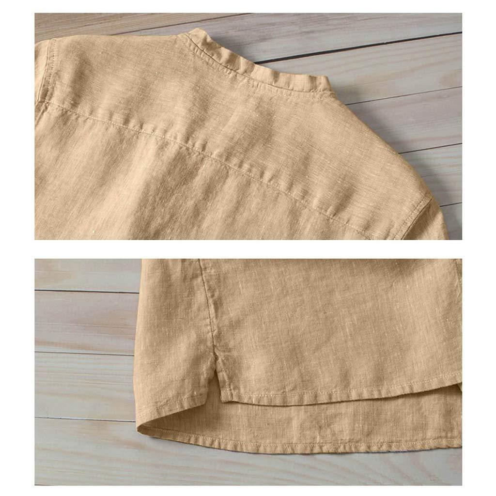 QBQCBB Summer Mens Cool Thin Breathable Solid Color Button Cotton Shirt Short Sleeve