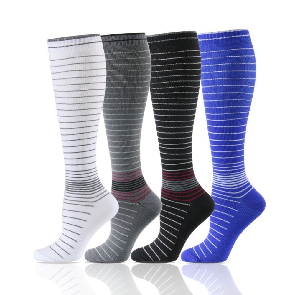 卒業圧縮ソックス20 – 30 mmHg – 中程度レディース&メンズの圧縮ストッキングfor Running、クロスフィット、travel- Suits、看護師、妊娠、脛骨過労性骨膜炎 B07B2THCKV S/M|Mix Stripe,4 Pairs Mix Stripe,4 Pairs S/M, 家具のニシムラ a9f865bb