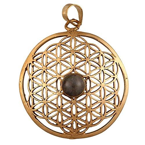 Brass Brass Tribal Pendant Flower of Life Labradorith SteinAntik golden chain women
