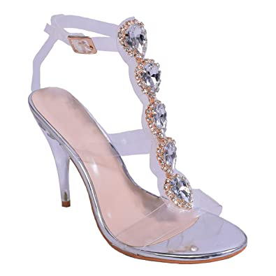 Womens Ladies Perspex Stiletto High Heel Barely There Jewel Embellishment Rose  Gold Silver Trim Party Occasion Wedding Shoes Size  Amazon.co.uk  Shoes    ... 362e1e2b2f