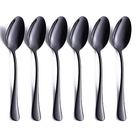 Amazon.com: Juego de 6 cucharas de té negras de acero ...