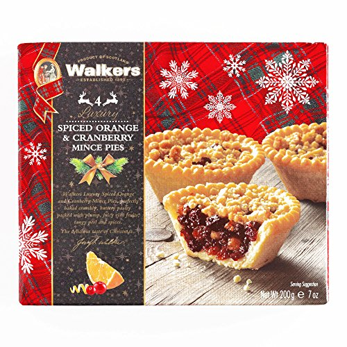 Walkers Spiced Orange and Cranberry Mince Pie 7 oz each - Gourmet Christmas Gift for the Holidays (1 Item per Order, Not per Case)