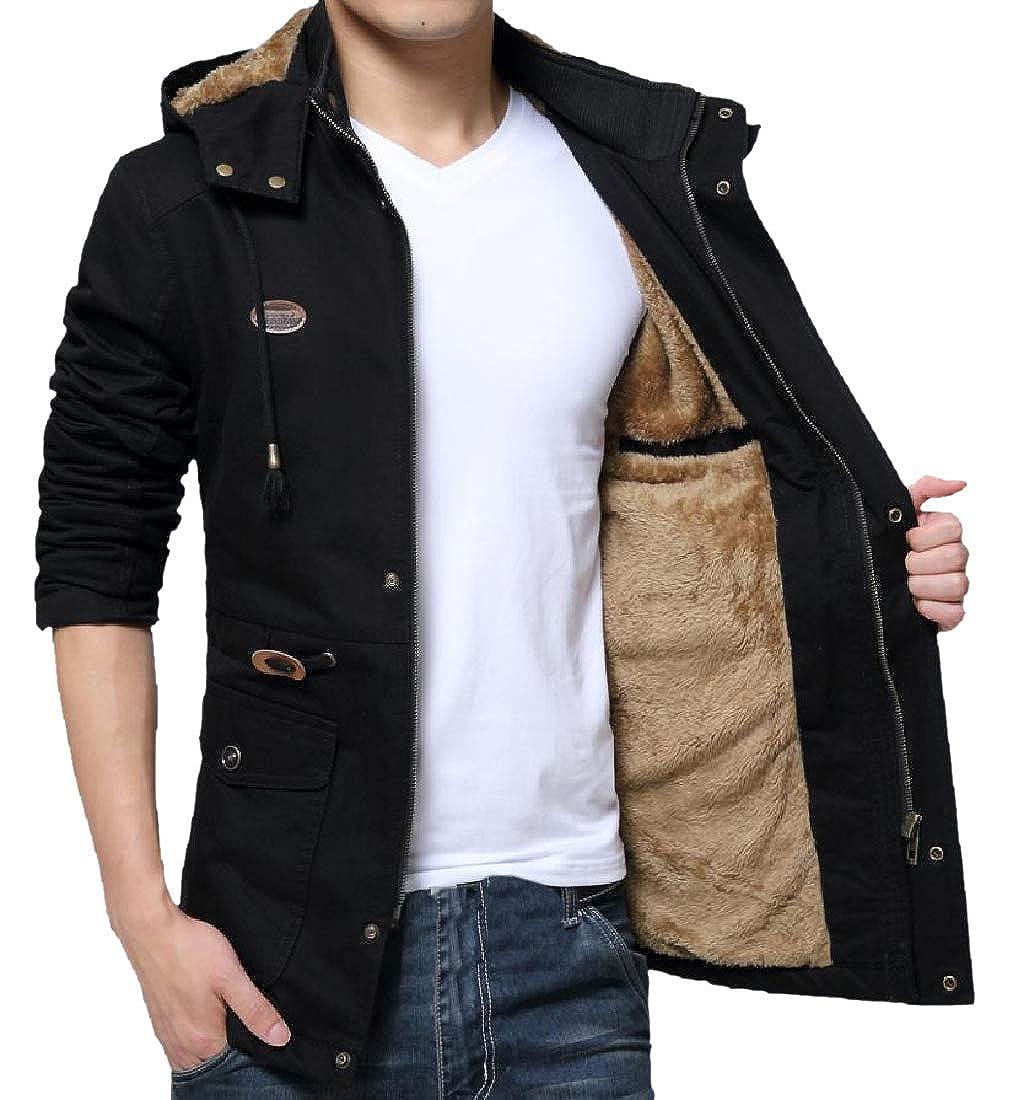 VITryst-Men Large Size Open Work Warm Velvet Trench Coat Jacket