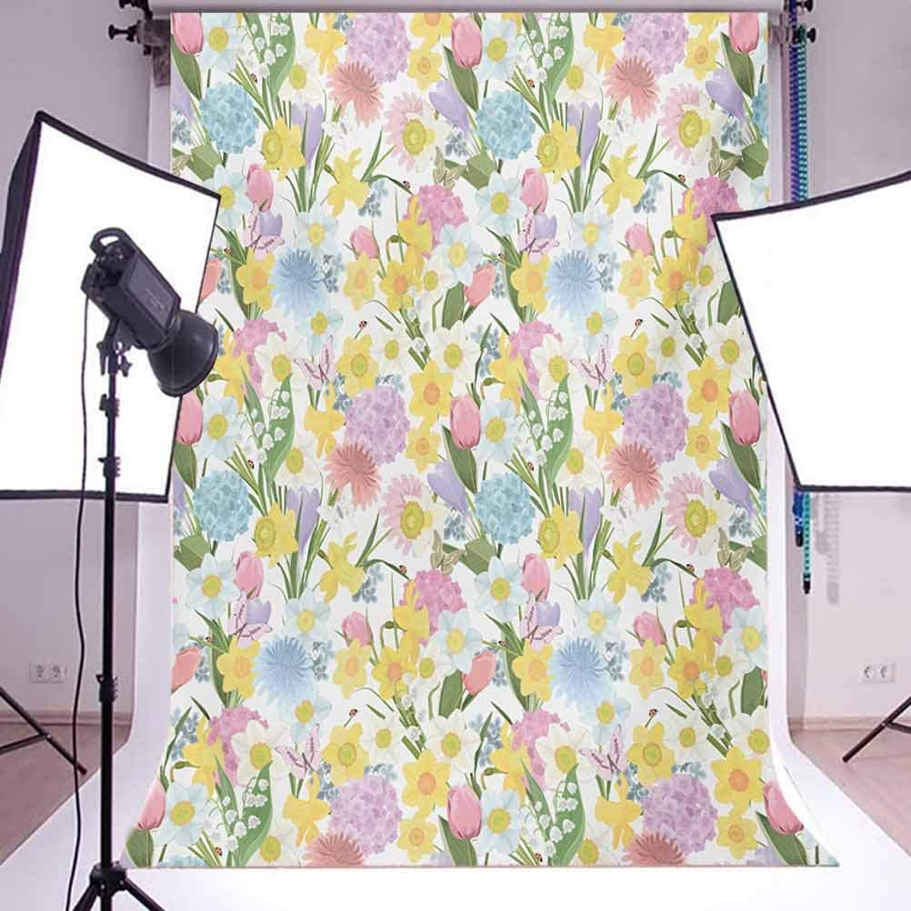 Spring 10x12 FT Photography Backdrop Valley Flowers Medley of Lilly Hydrangea Pin Cushion Protea Gardenia and Tulips Background for Baby Shower Bridal Wedding Studio Photography Pictures Multicolor