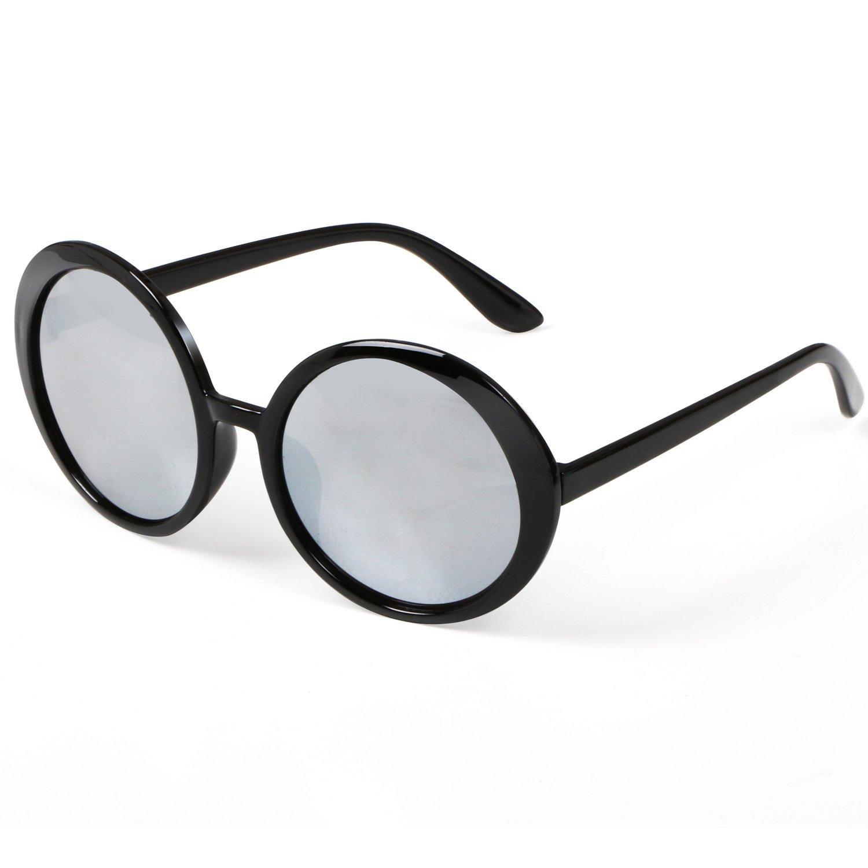 TRIXES Eleganti occhiali da sole da donna con lenti rotonde argentate a specchio