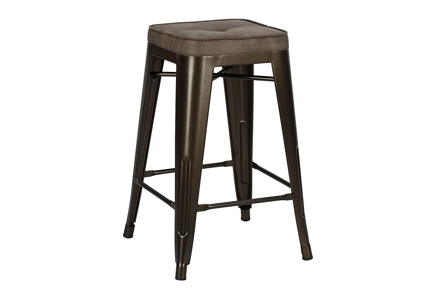 Novogratz Sedona Counter Stool with Metal Legs and Faux Leather Seat, Set of Two, Bronze