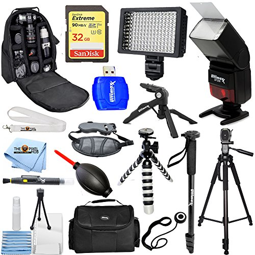 Nikon D810 D750 D500 D5600 D7100 D7200 MEGA ACCESSORY BUNDLE With Flash, Backpack, LED Light, Tripod, Monopod PLUS Much (Mega Accessory Bundle)