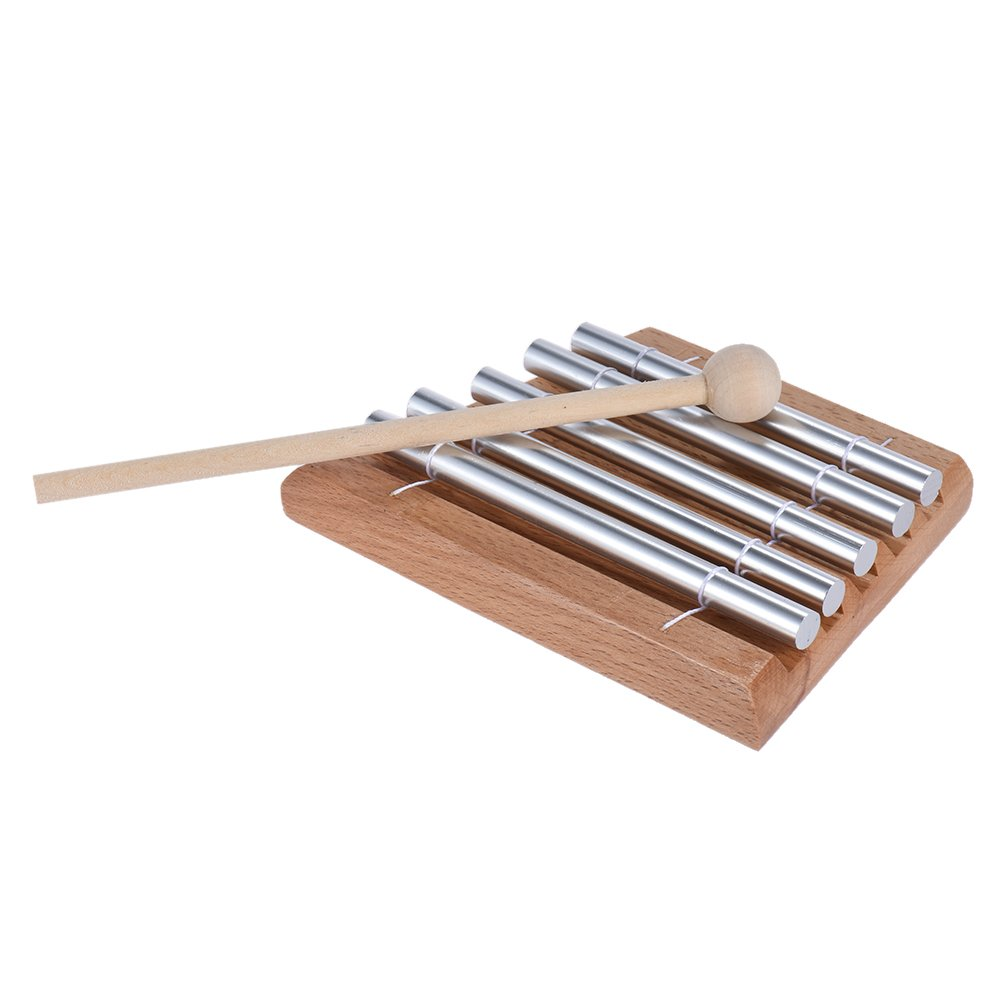 Andoer Children Kids Toddler 5-Tone Tabletop Chimes Educational Musical Toy Percussion Instrument with Mallet