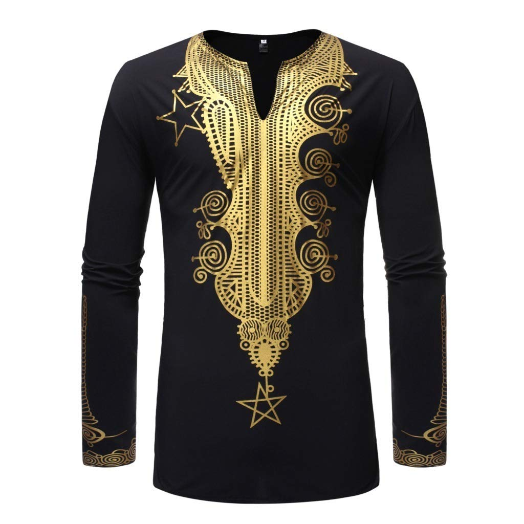 AngelSpace Mens Gilded African Style Pullover Long-Sleeve V Neck Trim-Fit Tees