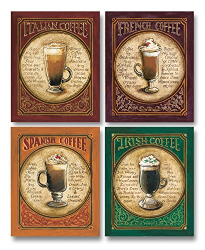 Select European Coffee Cocktails: Spanish Coffee, Irish Coffee, French Coffee and Italian Coffee; Four 11 x 14 Prints