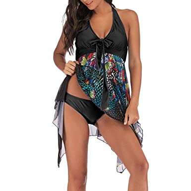 19c7132893063 LAPOPNUT Womens Tankini Set Swimswear Flowy Halter Swimdress Boho Floral  Printing Bikini Set Swimwear 2 Pieces Swimming Costume Plus Size Swimsuit  with ...