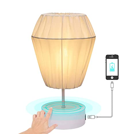 """f764a18d972e Keymit Touch Bedroom Lamps - Minimalist Table Bedside Lamp 7.9""""D 13.4""""H  with 1 USB Charging Port for Living Room- 3-Way Dimmable for Nightstand -  Cleanable ..."""