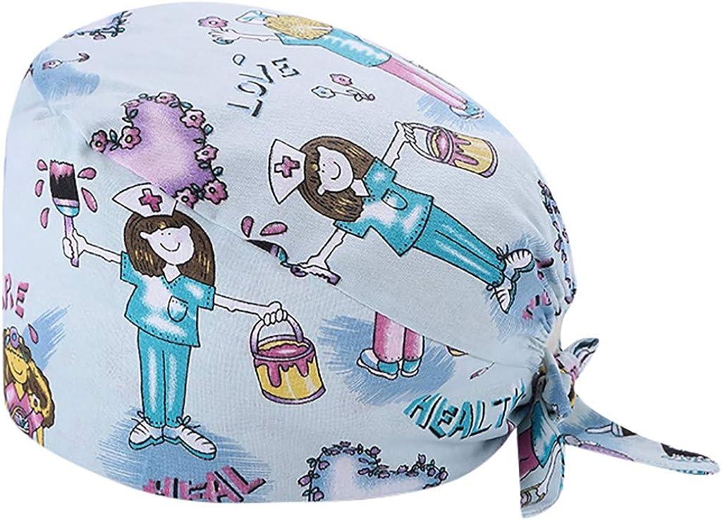 riou Gorro Quirófano Algodón Impreso Sombrero Médico Enfermera, Gorro de Trabajo Impreso para el Enfermero, el Doctor y el Anestesista