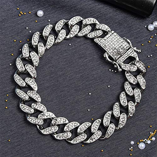 13mm Iced Out Men Necklace Chain Heavy Strong Bling Miami Curb Cuban Link Chain Hip Hop Gold Silver Necklace Chain Rhinestone Clasp Chain