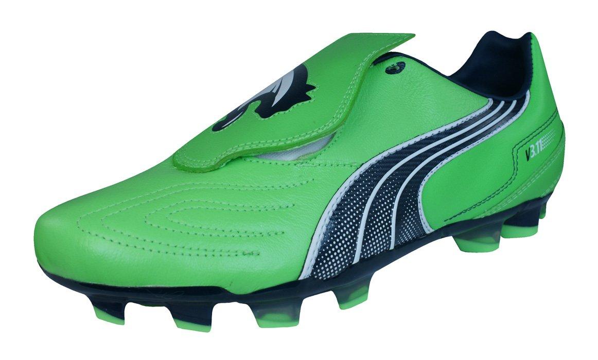 PUMA V3.11 i FG Mens Leather Soccer Boots/Cleats-Green-8.5