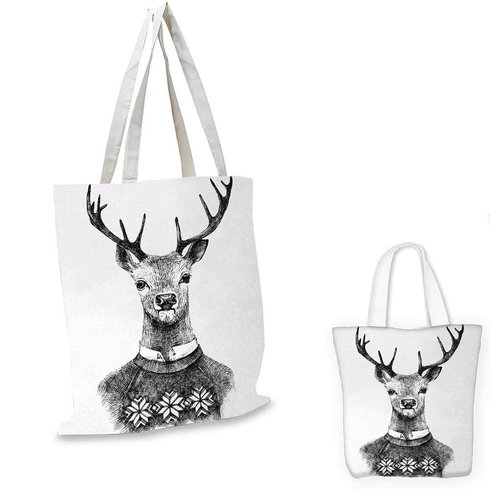 12x15-10 Indie canvas messenger bag Hand Drawn Deer Portrait in a Nordic Style Knitted Sweater Hipster Christmas canvas beach bag Charcoal Grey White