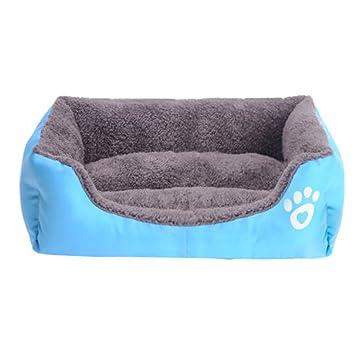 Yihya Lavable Lindo Cuadrado Azul Suave Calentar Mascotas Pet Perros Casa Choza Cachorro Gato Cama Doggy Doghouse Cojín Basket (Tamaño grandes: 68 * 55 ...