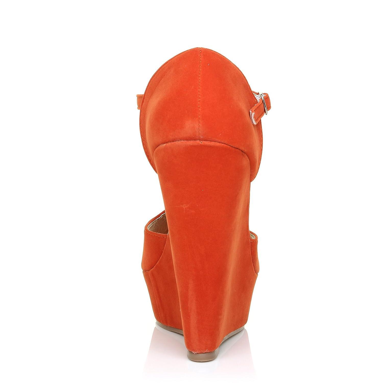 58f813d5aa6a ShuWish UK Vicky Orange Faux Suede T-Bar Peep Toe Platform Wedge Sandals   Amazon.co.uk  Shoes   Bags