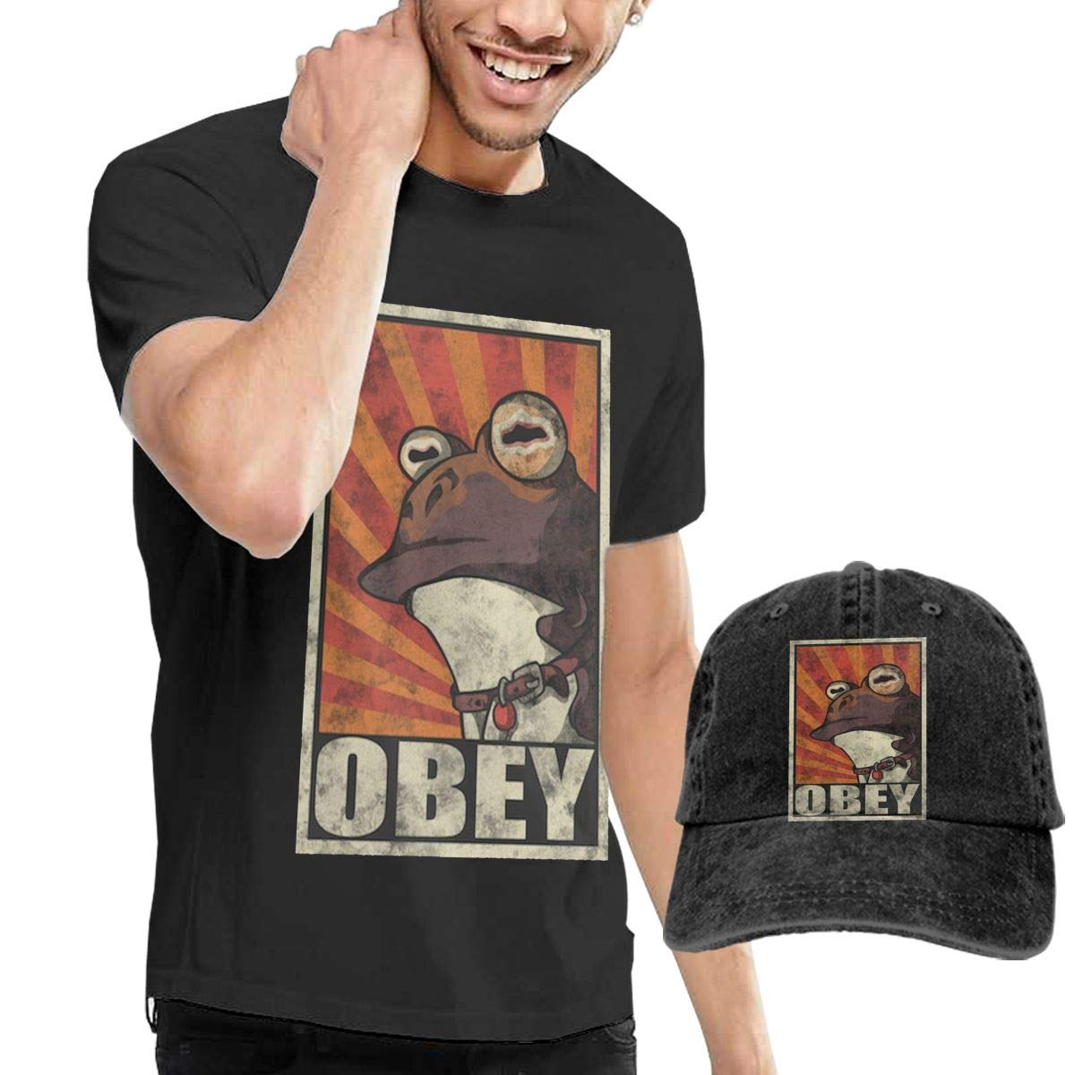 Yiooeea Mens Funny Frog Obey Hypnotoad Tee and Washed Denim Baseball Dad Cap Black XXL