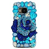 KAKA(TM) Creative Design Clear Case Bling Glitter with Blue Rhinestone Flowers Crystal Hard Case Cover for HTC M9