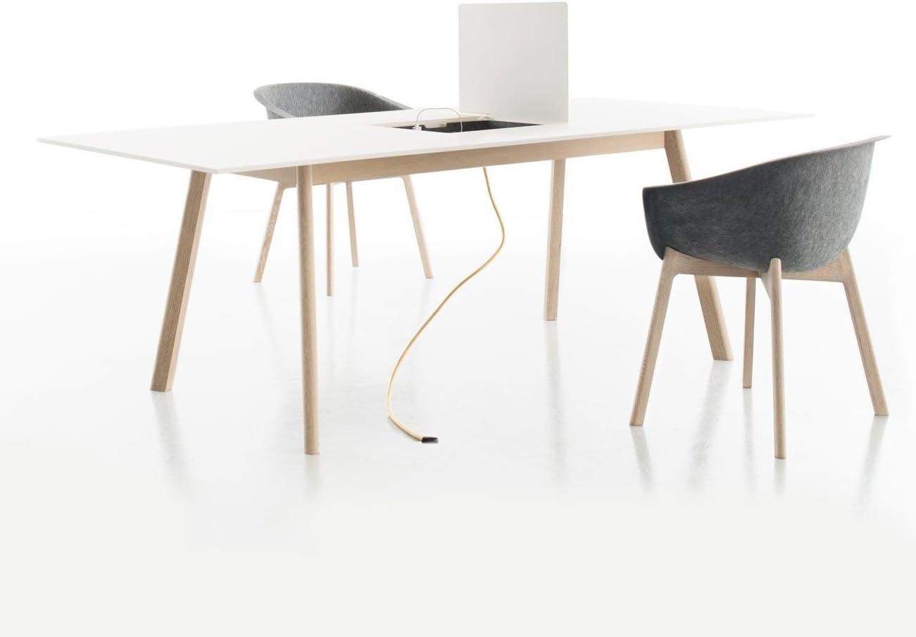 Pad mesa/escritorio 220 x 100 cm, blanco, mit Ausschnitt und ...