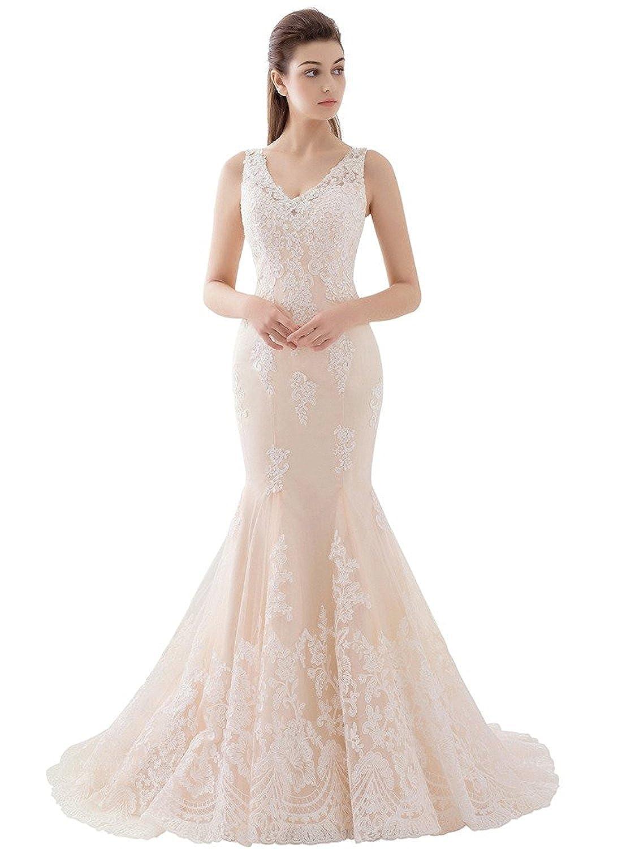 SDRESS Women's Stunning V-Neck Long Sleeveless Mermaid Lace Bridal Wedding Dress