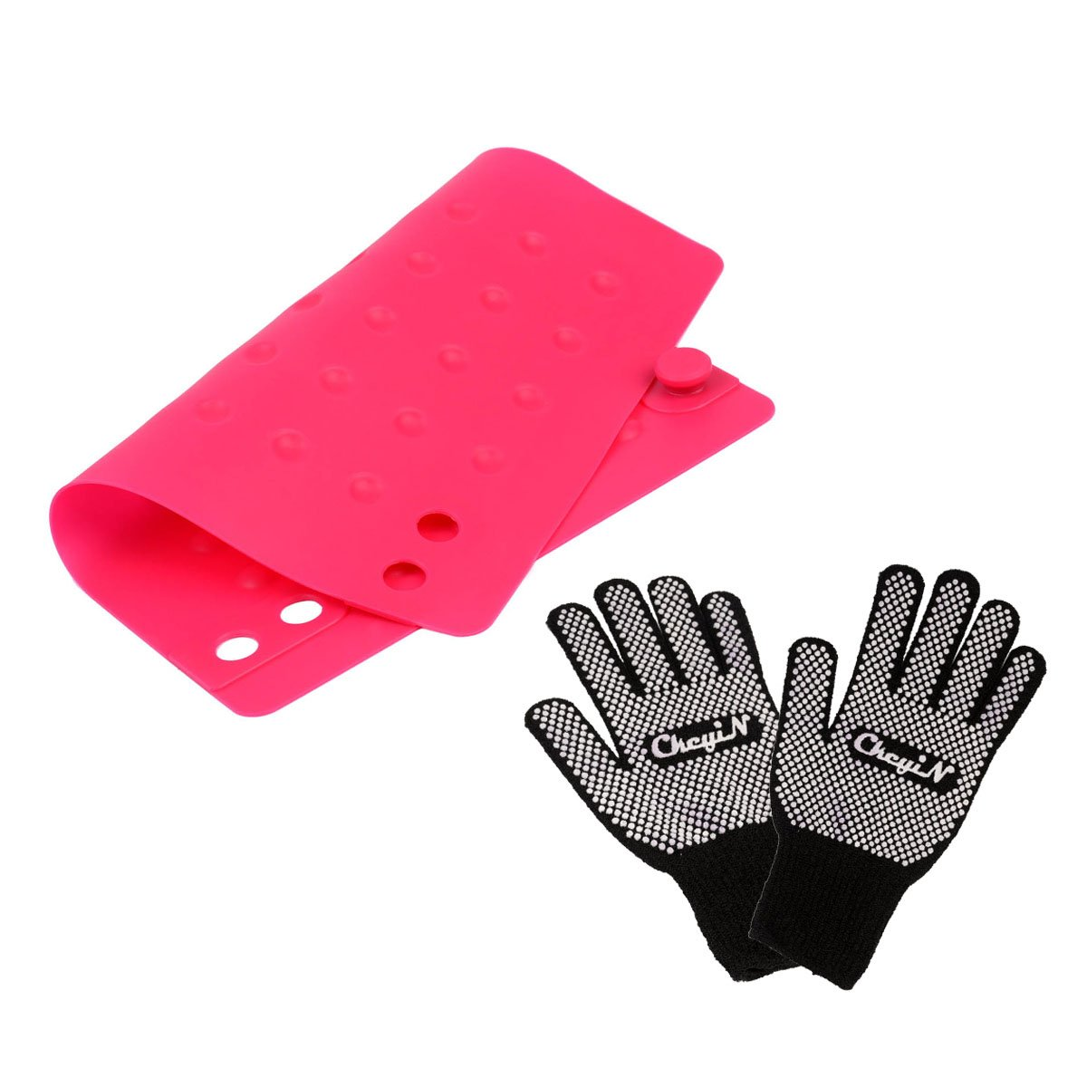 CkeyiN® 3pcs Silicone No-Slip Foldable Heat-proof Mat Curling Wand and Knitting Cotton Heat-resistant Gloves for Hot Styling Tools