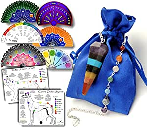 Living Gear Crystal Pendulum for Chakra & Energy Healing - 8 Full-Color Charts & Pendulum Guide Download Included