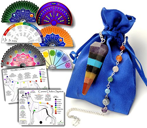 Pendulum Chakra Crystal with 8 Full-Color Charts & Dowsing Guide - Download Link to Printable Charts & Guide Included - Chakra Pendulum