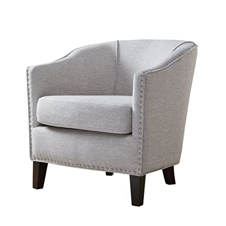 Astonishing Madison Park Fremont Accent Chairs Hardwood Plywood Faux Linen Bedroom Lounge Mid Century Modern Deep Seating Club Style Barrel Armchair Living Andrewgaddart Wooden Chair Designs For Living Room Andrewgaddartcom