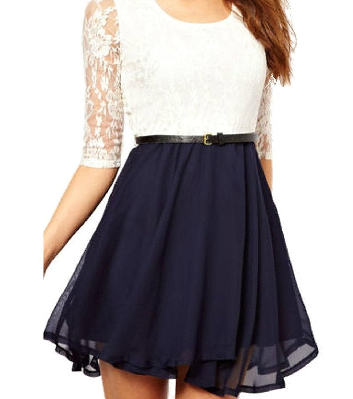 OYMMENEY Damen Kleid mit Spitze Sommerkleid shirt Tunika ...