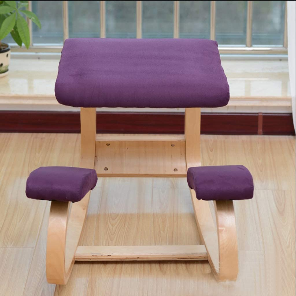 Ergonomic Kneeling Chair, Rocking Posture Wood Stool for Home Office & Desk Chair Improves Blood Circulation Improving Posture Relieving Stress