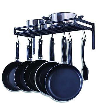 UNENCK Black Kitchen Wall Mount Pot Rack Iron Pot Hanger, 10 Hooks Available