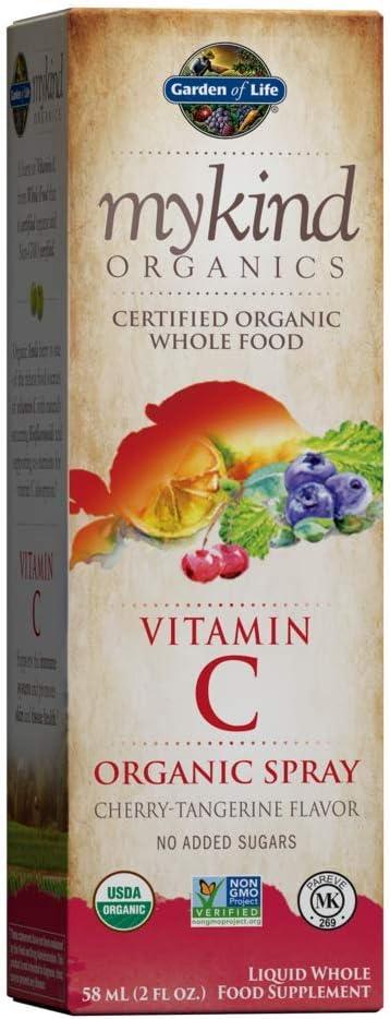 Garden of Life Vitamin C with Amla - mykind Organic C Vitamin Whole Food Supplement for Skin Health, Cherry Tangerine Spray, 2oz Liquid - Packaging May Vary