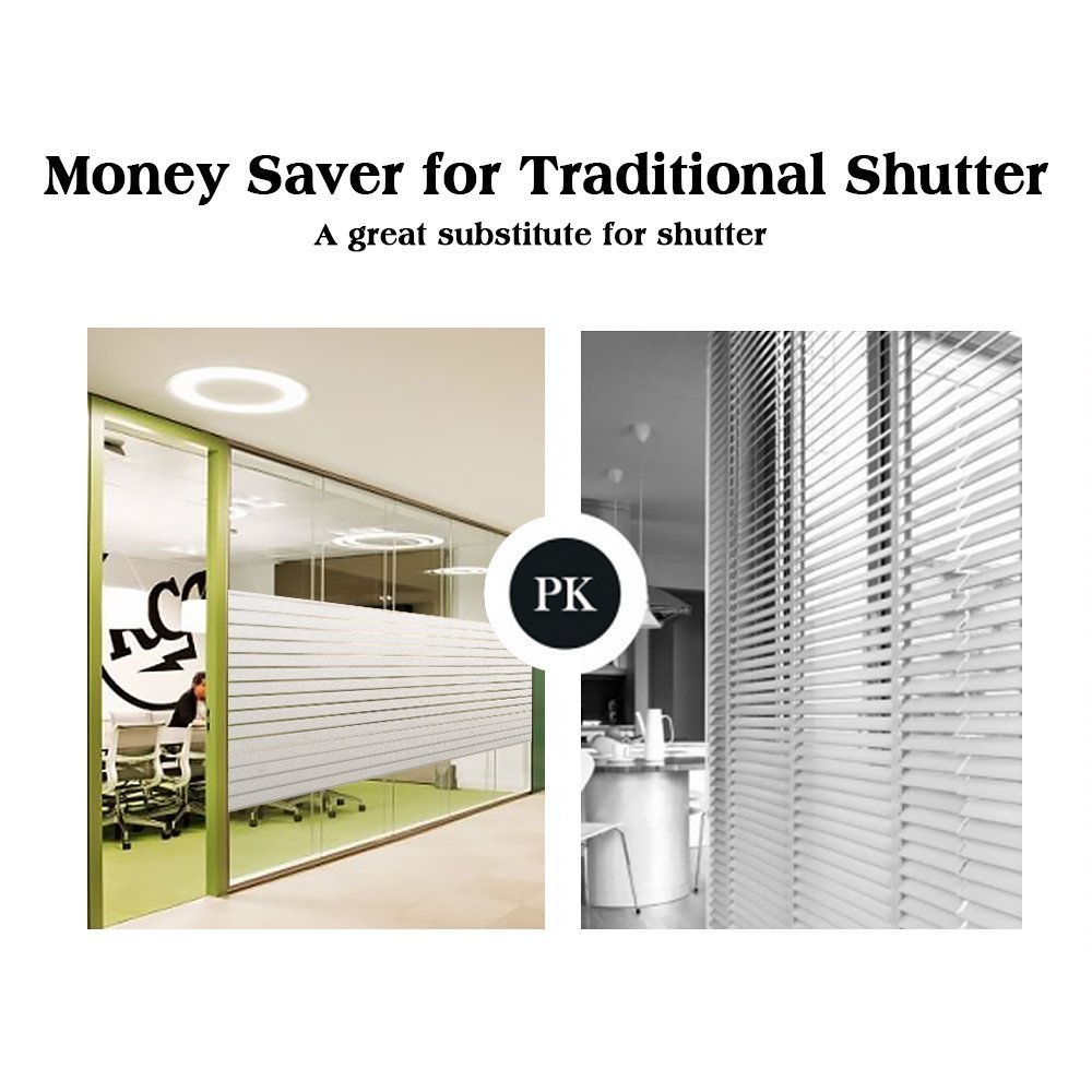 RABBITGOO Frosted Window Clings Privacy Etched Glass Window Film Window Frosting Film Non-Adhesive Window Stickers, 44.5x150cm (Frosted Stripe,17.5'' x 59'') by RABBITGOO (Image #6)