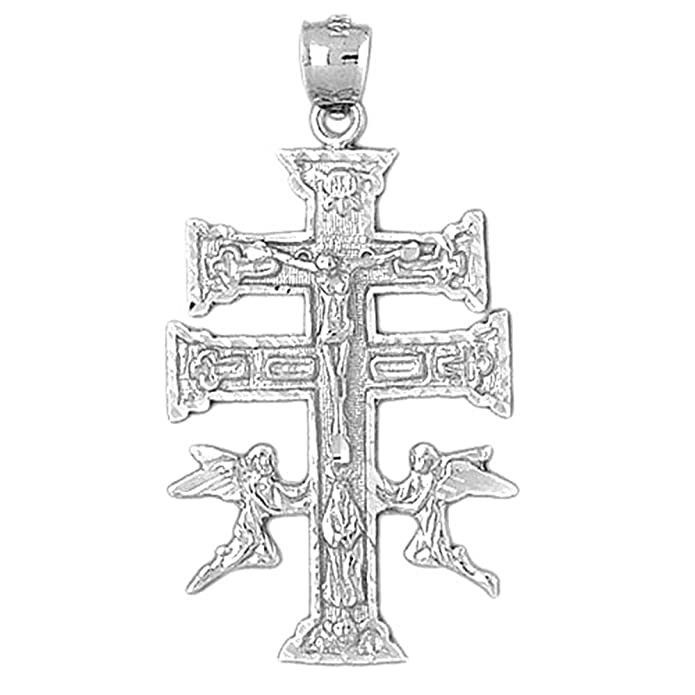 14K Rose Gold-plated 925 Silver Caravaca Crucifix Pendant with 16 Necklace Jewels Obsession Caravaca Crucifix Necklace