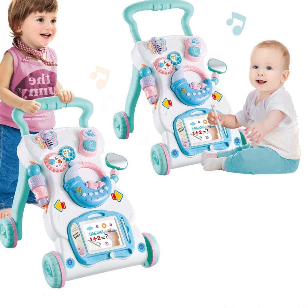 TOYANDONA Girello Seduto per Stare in Piedi Push Pull Apprendimento Walker Centro Attivit/à Apprendimento Musicale Giocattolo per Bambino Bambino