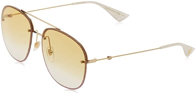 a8c7d509465 Image Unavailable. Image not available for. Color  Gucci sunglasses  (GG-0227-S 005) Glitter Rosa - Gold ...