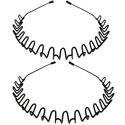 Amazon.com : Metal Headbands, WantGor 2 Pack Fashion Unisex Black Hairband Spring Wave Non Slip Sports Headwear Hair Hoop Hair Accessories : Beauty